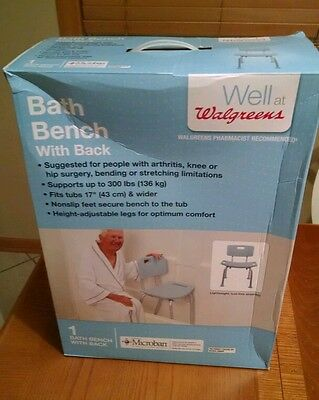 Medline Bath Bench with Back, Microban - Light Blue
