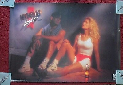 Sexy Girl Beer Poster Michelob Light ~ Couple finished working out in Gym