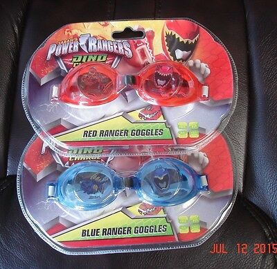 Power Rangers Dino Charge Swimming Goggles Latex-Free/Anti-Scratch Red/Blue ~NIP