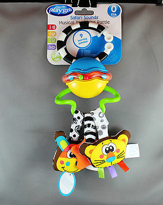 Playgro Safari Sounds Musical Tag Along Rattle (0mths+) - Brand New