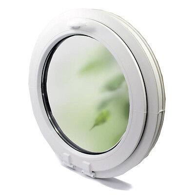 uPVC-Window Round WHITE Veka Till handle on top with frosted glass
