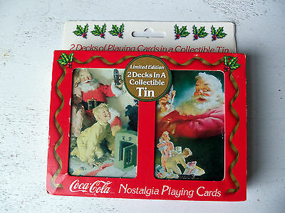 Collectible Vintage Tin & Two Decks Of Christmas Coca-Cola Playing Cards!  NEW!!