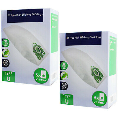 10 x U Type Hyclean Vacuum Cleaner Bags For MIELE Hoover Dust Bag S7000 Filters
