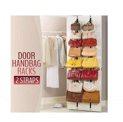 Adjustable Over Door Straps Hanger Clothes Rack Organizer -2 Counts(16 Hooks)