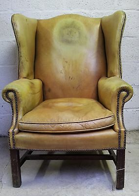 Worn Mustard Yellow Leather Edwardian Fireside Wingback Arm Chair