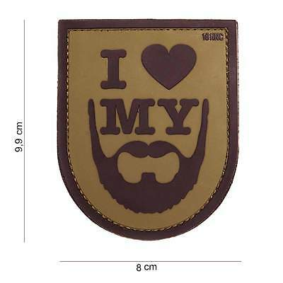 NEW 3D PVC I Love My Beard Tactical Military Army Velcro Morale Patch Coy Brown