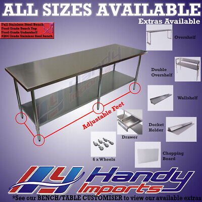2438 x 610mm FULL #304 S/STEEL COMMERCIAL FOOD GRADE KITCHEN PREP BENCH TABLE