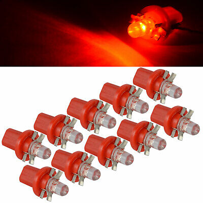 20x 12V Red T5 B8.5D 1SMD LED Interior Dome Dashboard Panel Side Light Bulb