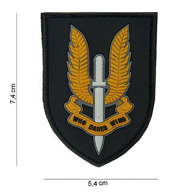 NEW 3D PVC Who Dares Wins SAS Special Forces Airsoft Velcro Backed Morale Patch