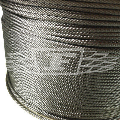 3mm WIRE ROPE (7x19) A4 MARINE GRADE STAINLESS STEEL ROPE HALYARD WINCH CABLE