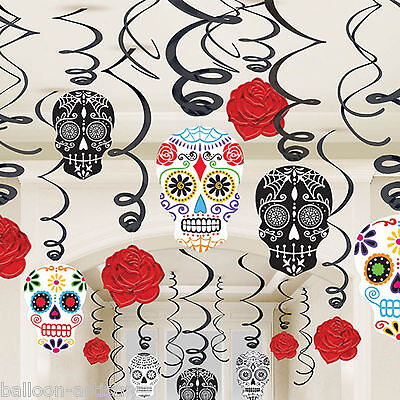30 Assorted Halloween Muertos Day Of The Dead Festival Hanging Swirl Decorations