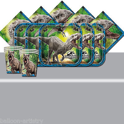 Jurassic World Park Child's Birthday Silver Complete Party Tableware Pack For 16