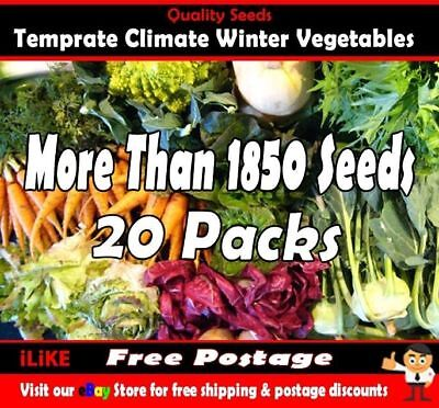 Temperate Climate Winter Vegetable Garden Plant Collection 1850 + Seeds 20 Packs