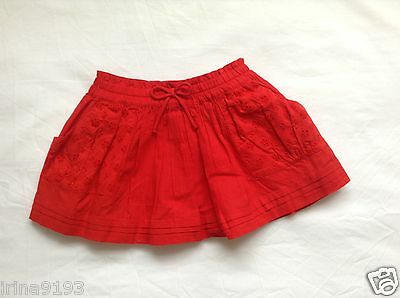 Next Baby Girl`s Red Cotton Summer Skirts Size 6-9,9-12,12-18,18-24mths