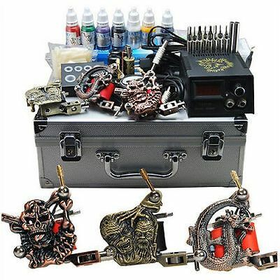 Professional Complete Tattoo Kit 3 Top Machine Gun 7 Color Inks 50 Needles