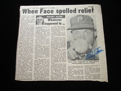1983 NY Daily News Elroy Face PIRATES Autographed B&W Newspaper Photo