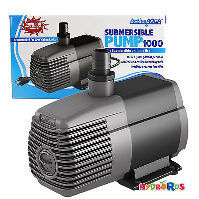 Active Aqua Submersible Water Pump Pond Tank Inline Hydroponics System, 1000 GPH
