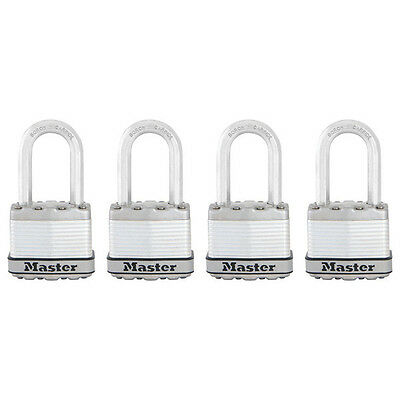 "NEW Master Lock M1XQLF Magnum Keyed Padlock 1 1/2"" Shackle, PACK, LOT OF 4"