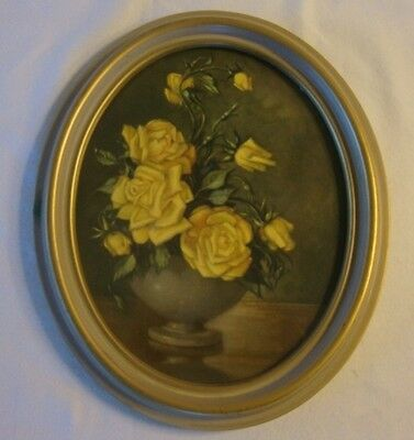 """Vintage Mid Century Yellow Roses in Gray Bowl Framed Oval Print 11.5 X 9.75"""""""
