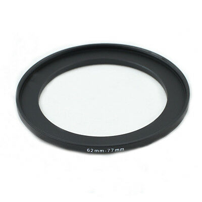 62-77mm 62mm to 77mm Step-Up Metal Filter Ring Adapter Black 62-77