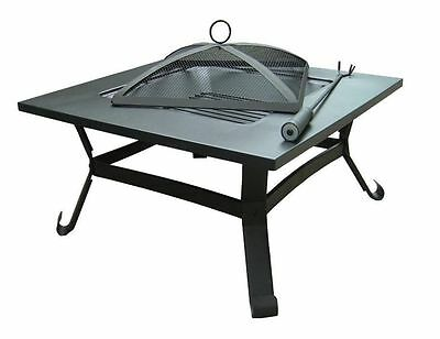 Outdoor Large Garden Firepit Brazier Square Patio Heater Steel RRP £120