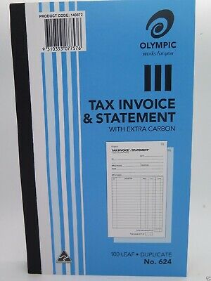 10 x Olympic #624 Invoice & Statement Book Duplicate 200x125mm 100Lf 140872 *^
