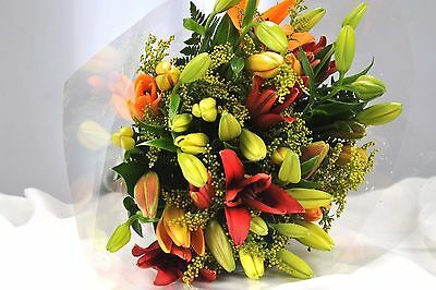FRESH REAL FLOWERS Delivered Aziatic LILIES FREE UK Next Day Delivery by post