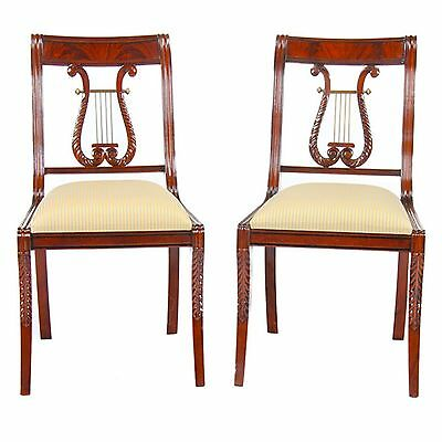 NDRSC008, Niagara Furniture, PAIR Solid Mahogany Lyre Chair or Harp Back Chairs