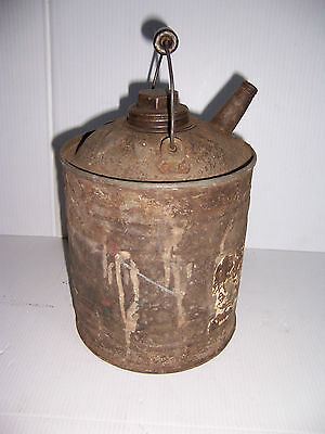 Vintage Galvanized Metal 1 Gallon Gas Oil Kerosene Can With Wood Handle