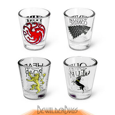 Game of Thrones Shot Glasses, Set of 4 - Official HBO Shots Drinkware