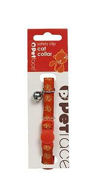 Petface Cat Collar Adjustable, Safety Clip & Bell, Red with Orange Petface Cats