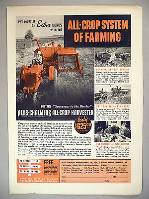 Allis-Chalmers All-Crop Harvester PRINT AD - 1938