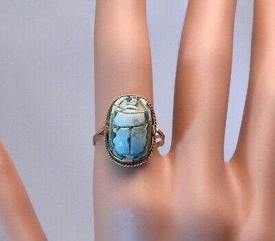 Antique Art Deco EGYPTIAN REVIVAL FAIENCE SCARAB RING 12K Gold Talismean sz 7.75