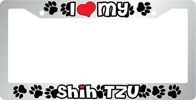 Auto 566 Paws Chrome License Plate Frame Life Is Better With My Shih Tzu