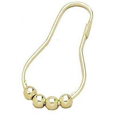 Carnation Home Roller Ball Type Shower Curtain Hook In Brass Finish Set Of 12