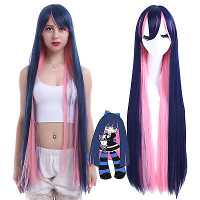 """Panty & Stocking with Garterbelt 40"""" Long Straight Pink Mix Blue Cosplay Wig US"""