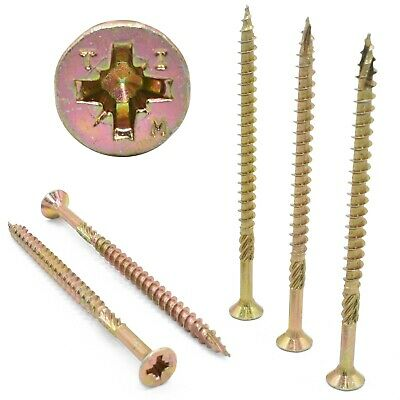 4.0mm 5.0mm 8g 10g PREMIUM CUTTER THREAD WOOD SCREWS, DOUBLE POZI CSK, GOLDSCREW