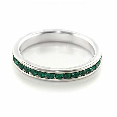 Sterling Silver Plated Eternity Stackable Crystal Birthstone Rings-Sizes 5-10