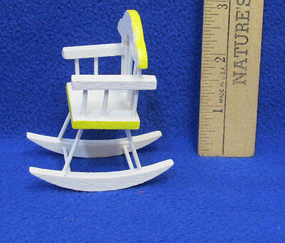 Miniature Dollhouse Doll House Furniture Wood Rocking Chair White w/ Yellow Trim
