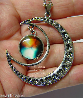 CRESCENT MOON WITH GLASS GALAXY CABOCHON PENDANT C Wicca Witch Pagan Goth