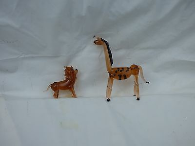 Blown Glass Miniatures Giraffe And Lion Set Of Two