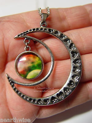 CRESCENT MOON WITH GLASS GALAXY CABOCHON PENDANT P Wicca Witch Pagan Goth