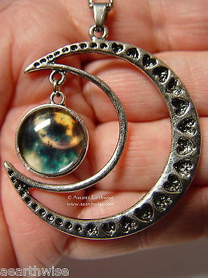 CRESCENT MOON WITH GLASS GALAXY CABOCHON PENDANT W Wicca Witch Pagan Goth