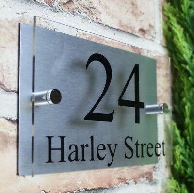 Modern House Sign Plaque Door Number Street Glass Effect Acrylic Aluminium Name