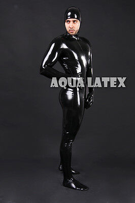 Face Entry Latex Catsuit, Man's Rubber Sexy and Tight Bodysuit