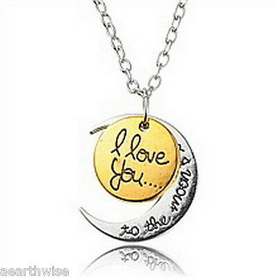 I LOVE YOU TO THE MOON & BACK CRESCENT MOON PENDANT  Wicca Witch Pagan Goth