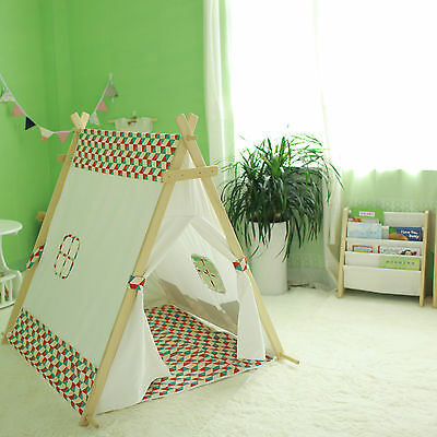 Large Cotton Canvas Kids l A-FRAME Teepee Outdoor Tent W/ Matching Cushioned Mat