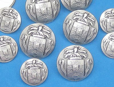 Set 12 Coat of Arms picture New Vtg Antiqued SILVER Metal Blazer Buttons SIZES