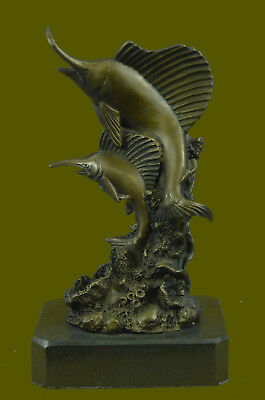 Hot Cast  Blue Marlin Statue Bronze Sculpture Trophy Big Fish Animals Figure Art