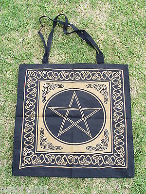 BROWN PENTACLE COTTON TOTE BAG 460 x 440mm + Strap Wicca Pagan Witch PENTAGRAM